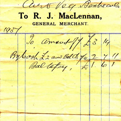 1937 - a copy of an invoice