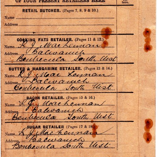 1941 - inside cover of a customer's ration book