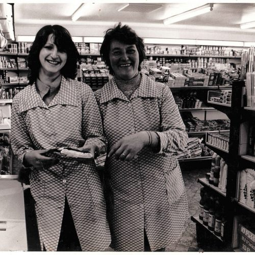 1980 - opening day of the new self service shop. Catherine MacLean & Effie MacLennan