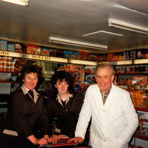 1986 – Ronald's parents, Nellie and Effie MacLennan with Margaret MacVicar in the middle, in the self-service shop